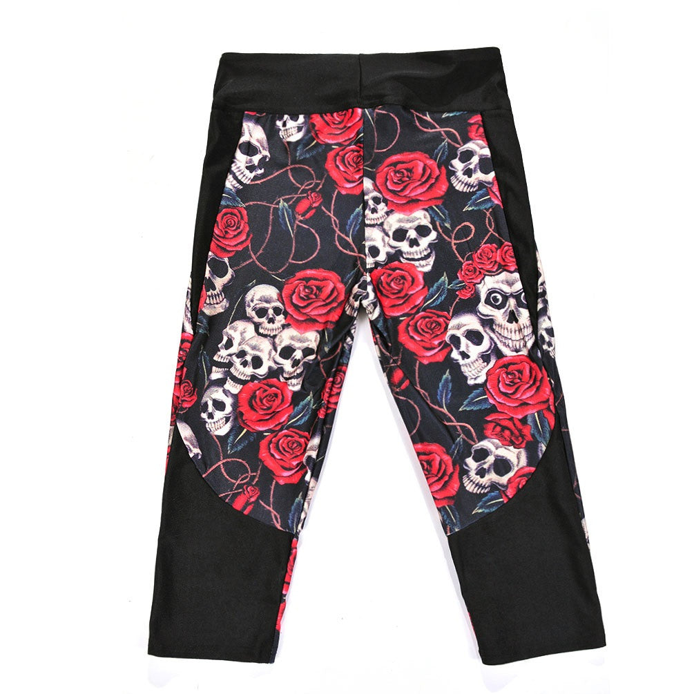 881759e005d307 ... Women's Black Red Skulls and Roses High Waisted Athletic Yoga Running Capri  Pants with Pockets