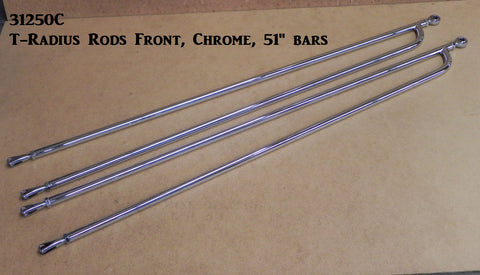 "31252C T-Radius Rods, Chrome, Short Fronts, 27"" bars w/Ends and Chrome Hardware"
