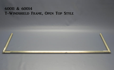 "60011P T-Windshield Frame, Polished, Open Top Frame, 11"" height, 40 1/8"" wide"