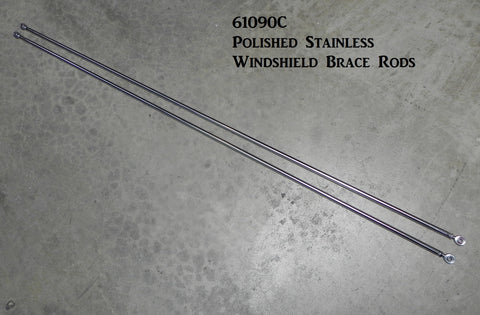 61090C Windshield Brace Rods with ends, Polished Stainless, no brackets