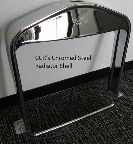 81613C T-Radiator Shell w/ Ford script, Chrome, Steel 2pc.