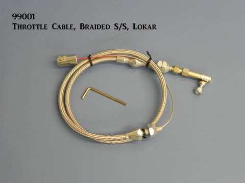 99001 Throttle Cable, Braided Stainless Steel, Lokar