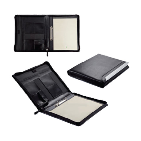 A4 Size All Round Zip Leather Folder with Memopad