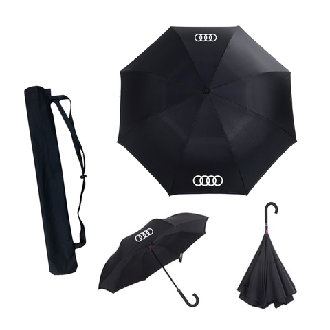 Inverted Umbrella / Reversible Umbrella, Reversed Umbrella with Leather J Handle