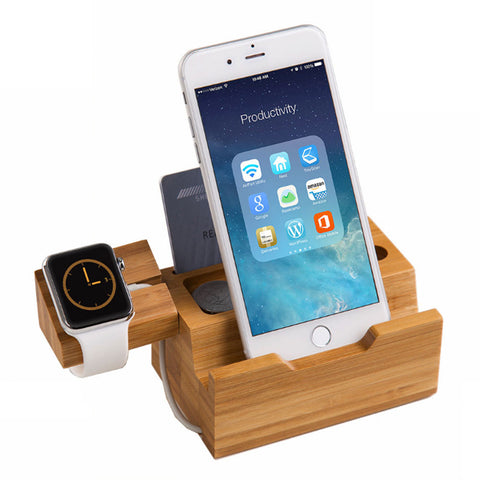 Bamboo charging Dock Stand holder come with USB Ports