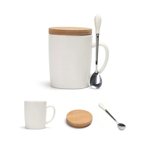 Coffee Mug with Spoon and Cover