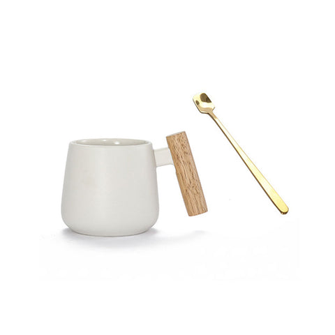Coffee Mug with Spoon, Wooden Handle and Cover