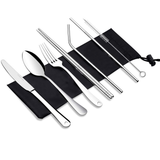Reusable Metal Straws and Cutlery Set with Pouch