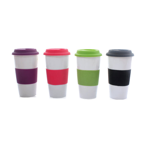 Double Wall Ceramic Mug with Silicone Holder & Cover