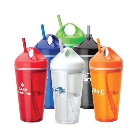 Double Wall Plastic Tumbler with Straw