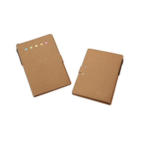 Kraft Paper Notebook with Post-it N Stickers Combination