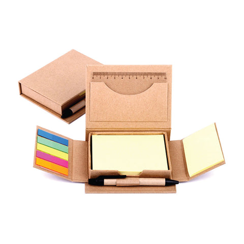 Kraft paper note box with Pen and post-it pad