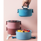 2-Tier Round Lunch Box with Handle
