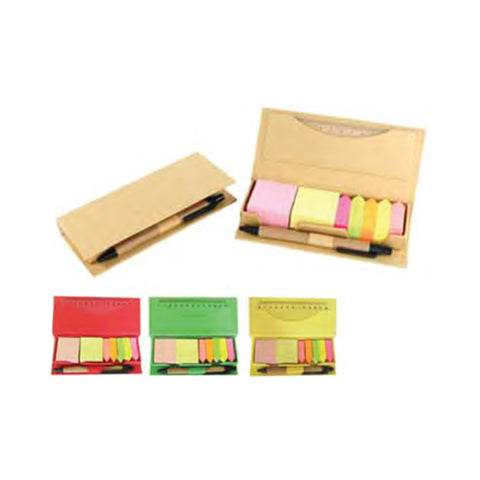Memo Holder with Memo Papers, Neon Stripes, Ruler & Pen