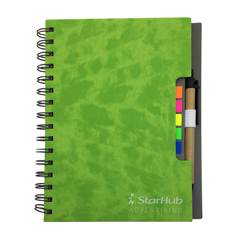 Hardcover Notebook with Sticky Pads and Recycled Pen