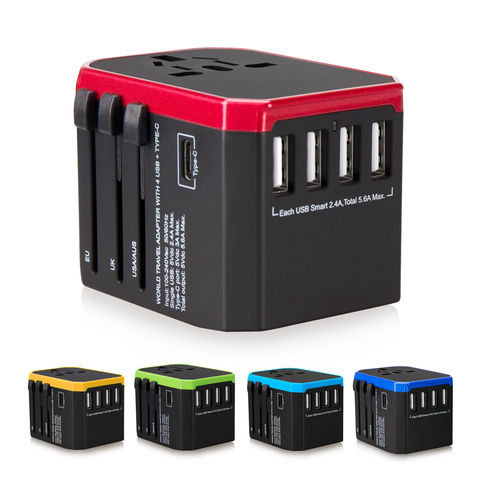 USB Travel Adaptors with 4 USB Hub + Type C