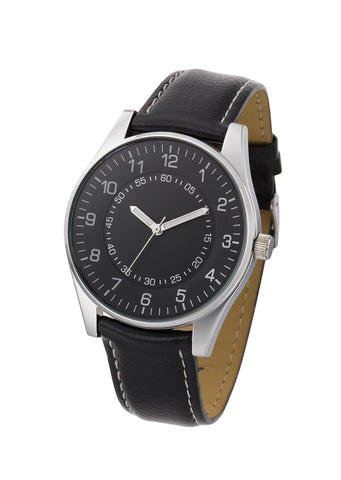 Analog watch with silver brass case