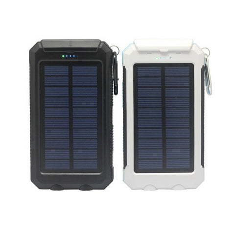 Waterproof Solar Powerbank with double LED torches and compass