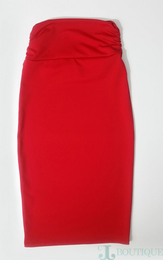 Beautiful Two Piece Red Pencil Skirt Set - CJJBoutique.com