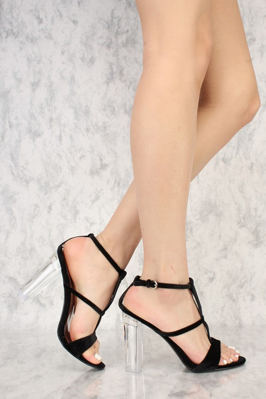 Evelyn Strappy T-Strap Open Toe - Clear Heel