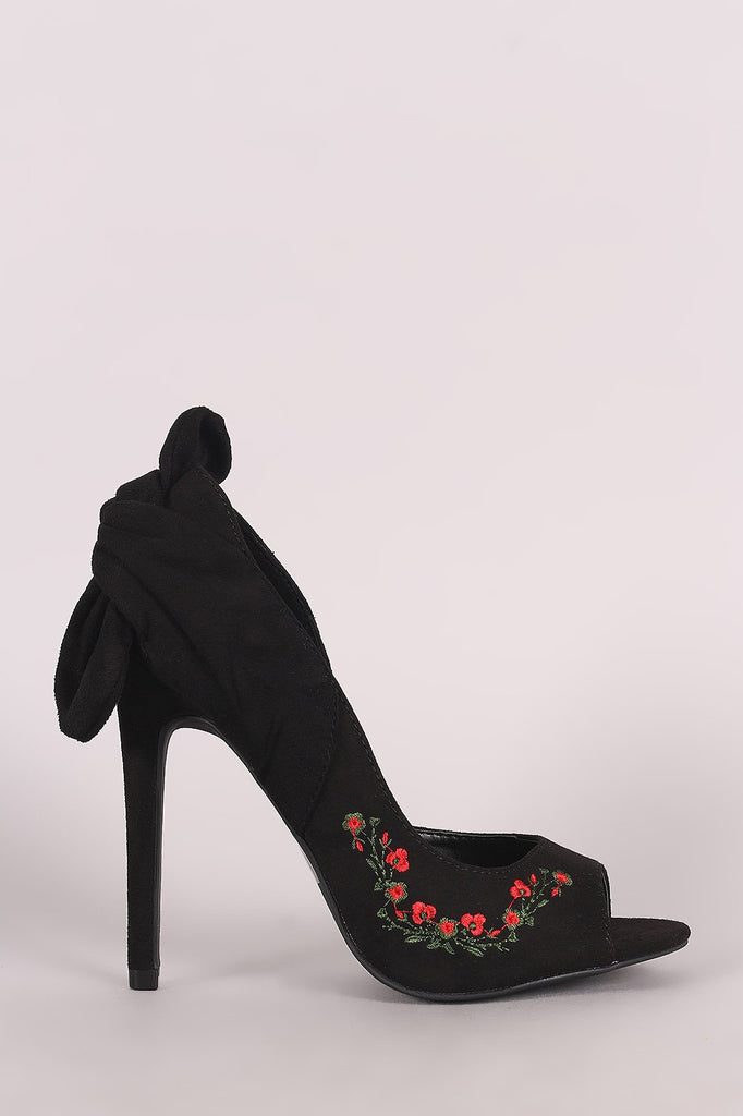 I Love Open Toe Black Embroidered Floral - Heels