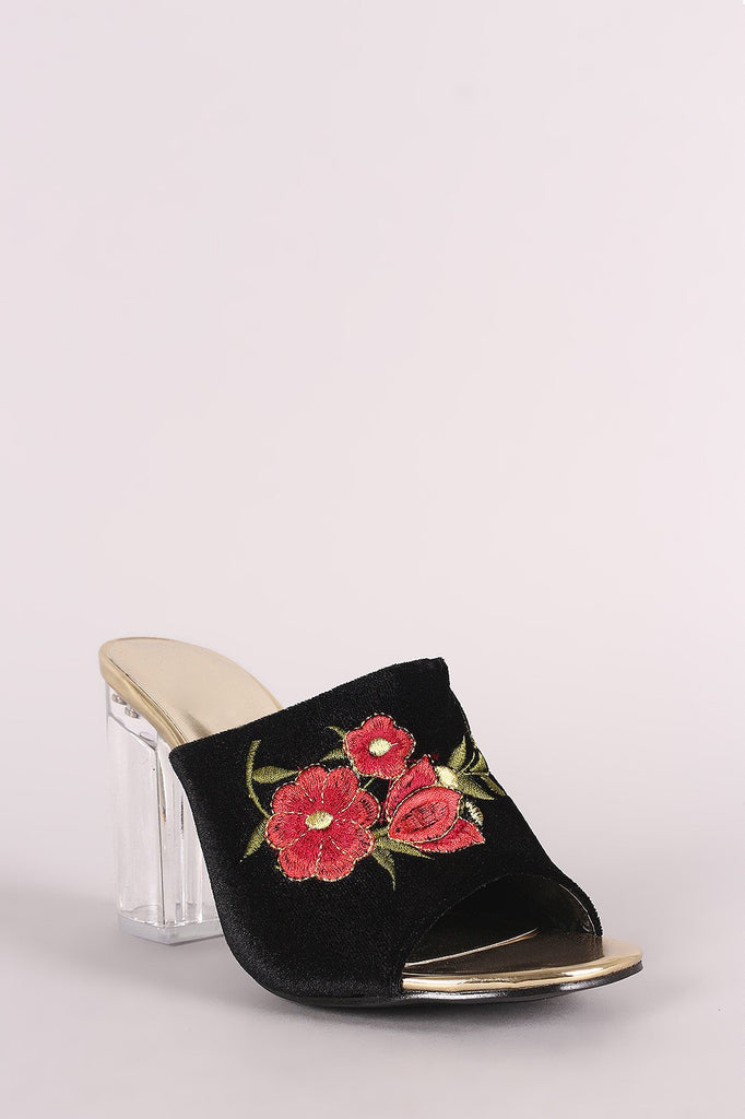 Jessenia Embroidery Floral Clear Heel - Black Mule