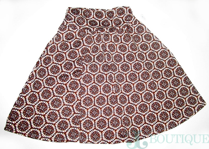 Brown and Beige Flared Skirt - CJJBoutique.com