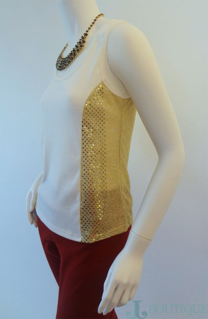 Beige Tank Top With Gold Sequin - CJJBoutique.com