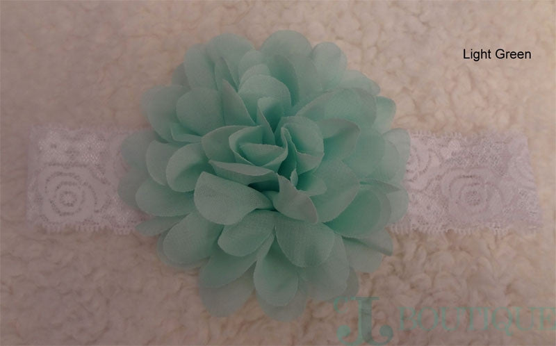 Light Green Lace Headband - CJJBoutique.com