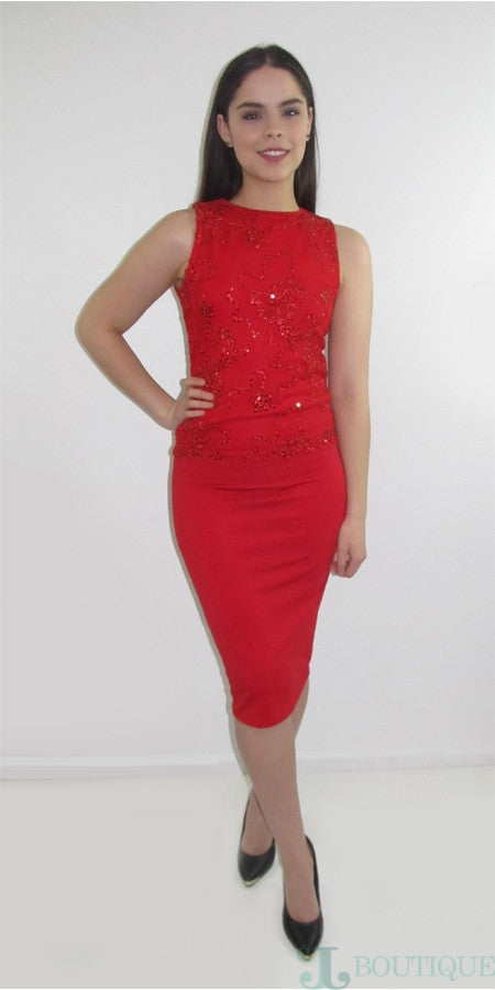Two Piece Red Pencil Dress - CJJBoutique.com