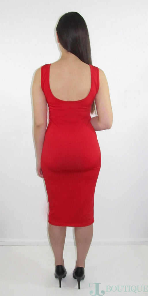 Red Sleeveless Midi Bodycon - CJJBoutique.com
