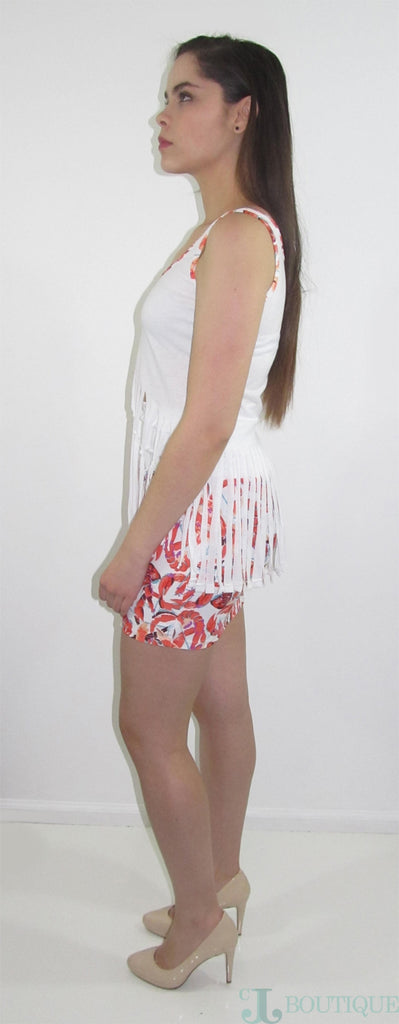 Cute White Top With Fringed - CJJBoutique.com
