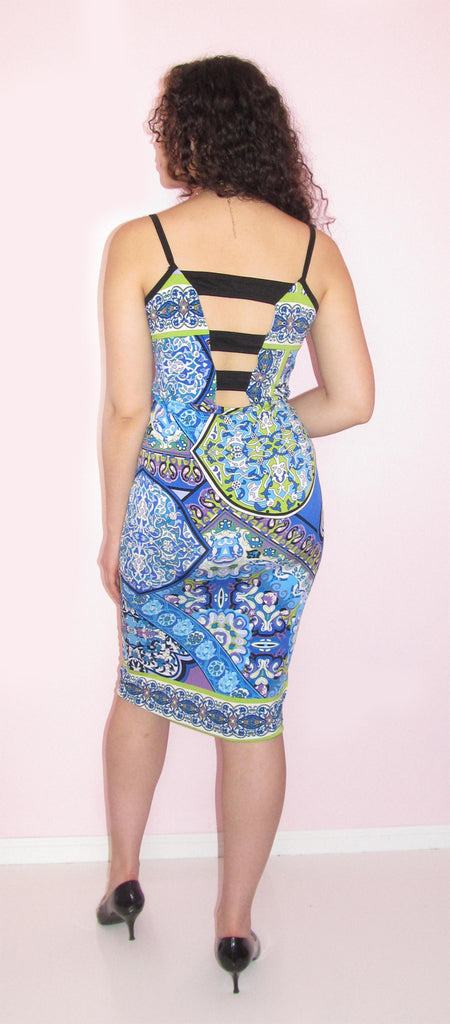 Blue Print Midi Dress - CJJBoutique.com