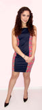 Navy Blue & Hot pink Mini Dress - CJJBoutique.com