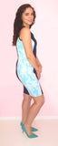 Blue Two Tone Floral Dress - CJJBoutique.com