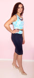 Blue Caribbean Pencil Skirt Set - CJJBoutique.com