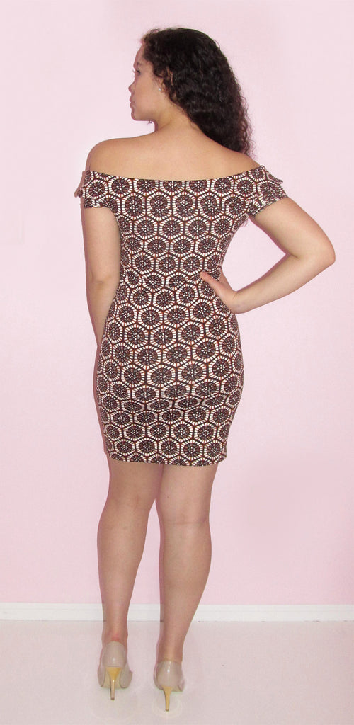 Brown & Beige Off The Shoulder Dress - CJJBoutique.com