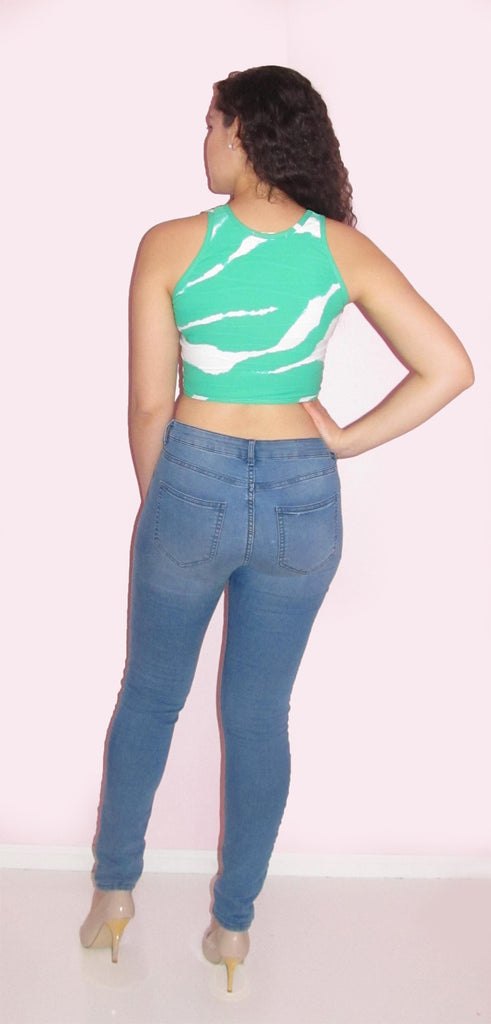 Green and White Crop Top - CJJBoutique.com