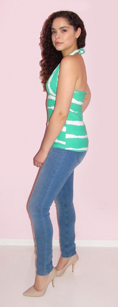 Green and White Halter Top - CJJBoutique.com