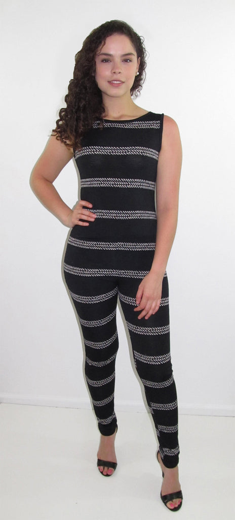 Yasely Black and White Jumpsuit - CJJBoutique.com
