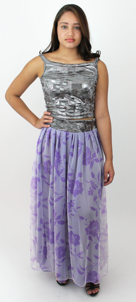 Purple and Silver Party Skirt Set