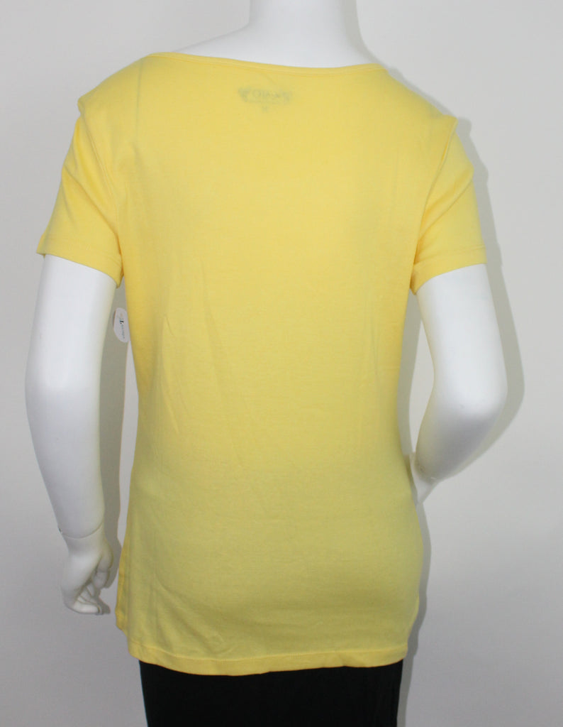 Womens Yellow Front Ruffled Blouse