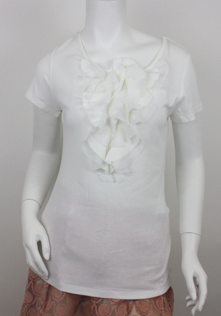 White Blouse  with front ruffled