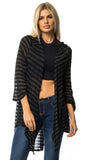 Jadis Black and Silver Draped Cardigan
