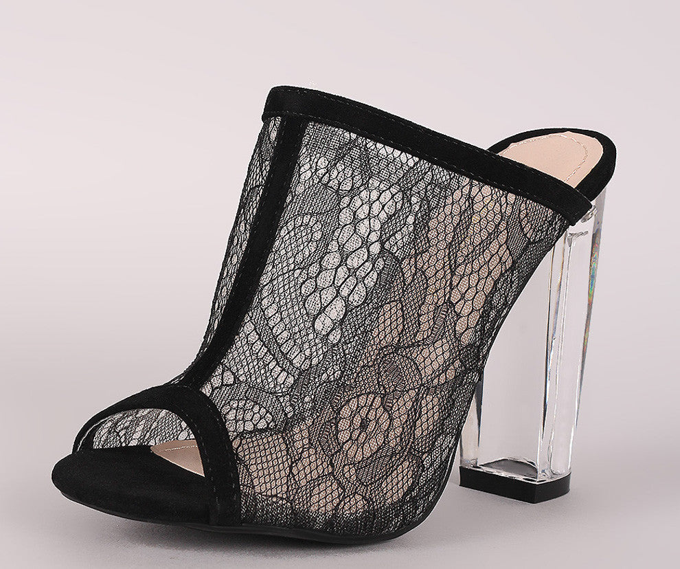 Open Toe Black Lace Clear Heels
