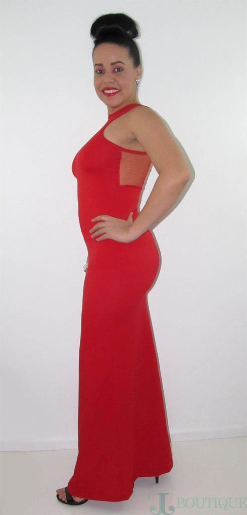 Red Maxi Party Dress - CJJBoutique.com