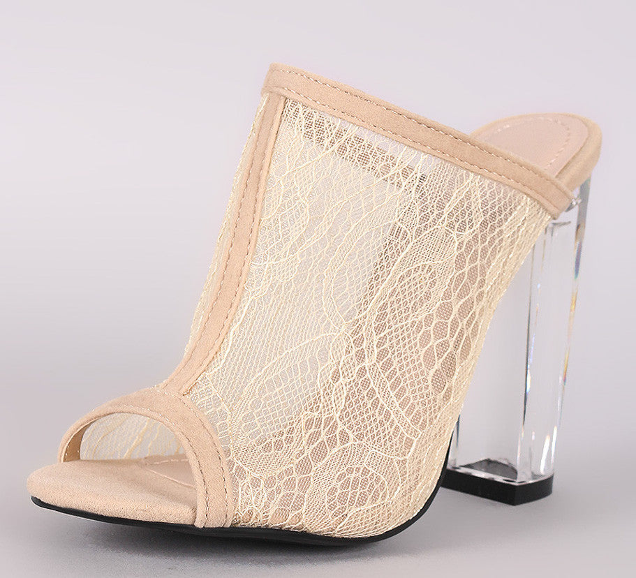 Open Toe Nude Lace Clear Heels
