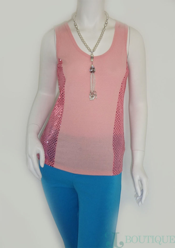 Pink Tank Top With Sequin - CJJBoutique.com