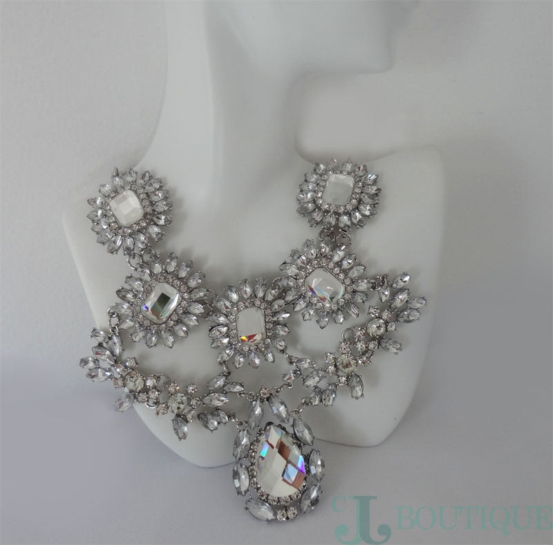 Silver Bridal Necklace - CJJBoutique.com
