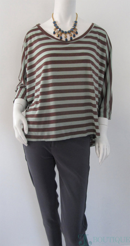 Striped High Low Blouse - CJJBoutique.com